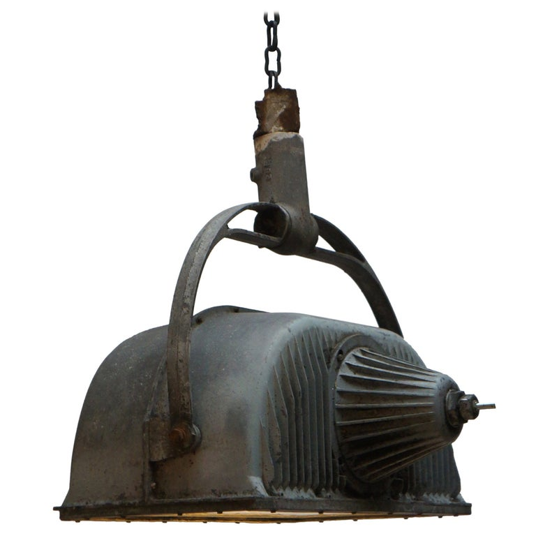 Large Industrial Ceiling Light Fixture For Sale