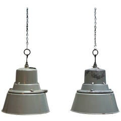 Two Industrial Pendant Lights