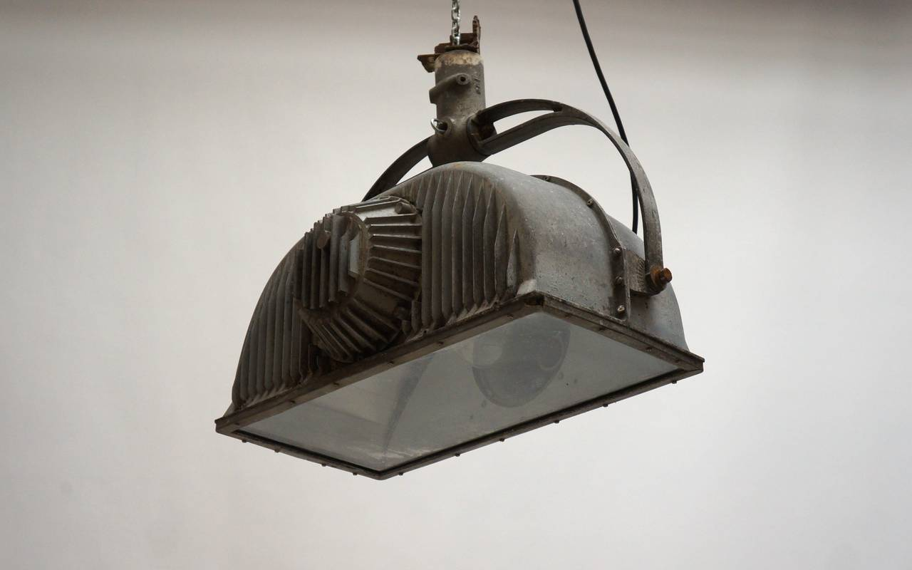 Large Industrial Ceiling Light Fixture In Good Condition For Sale In Antwerp, BE