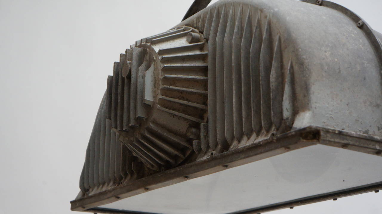 20th Century Large Industrial Ceiling Light Fixture For Sale