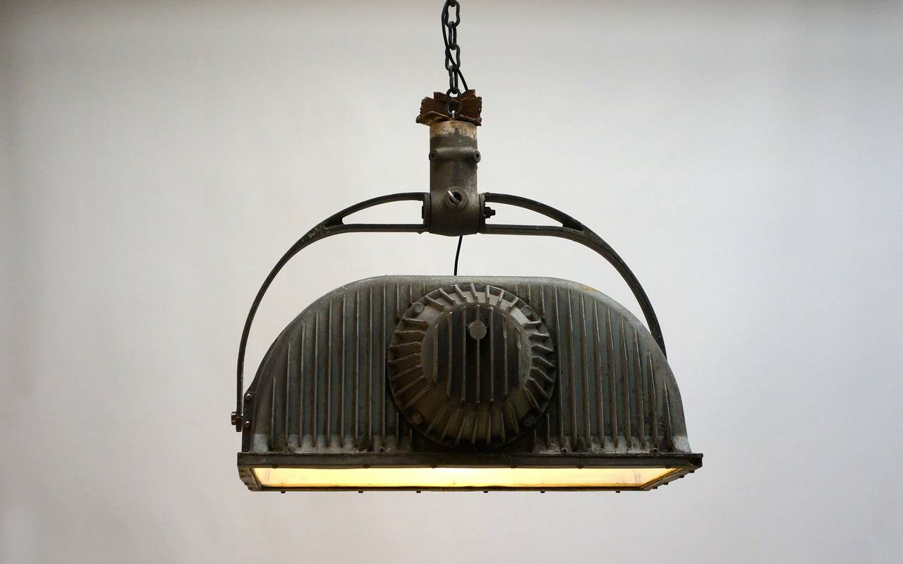 Large Industrial Ceiling Light Fixture For Sale 1