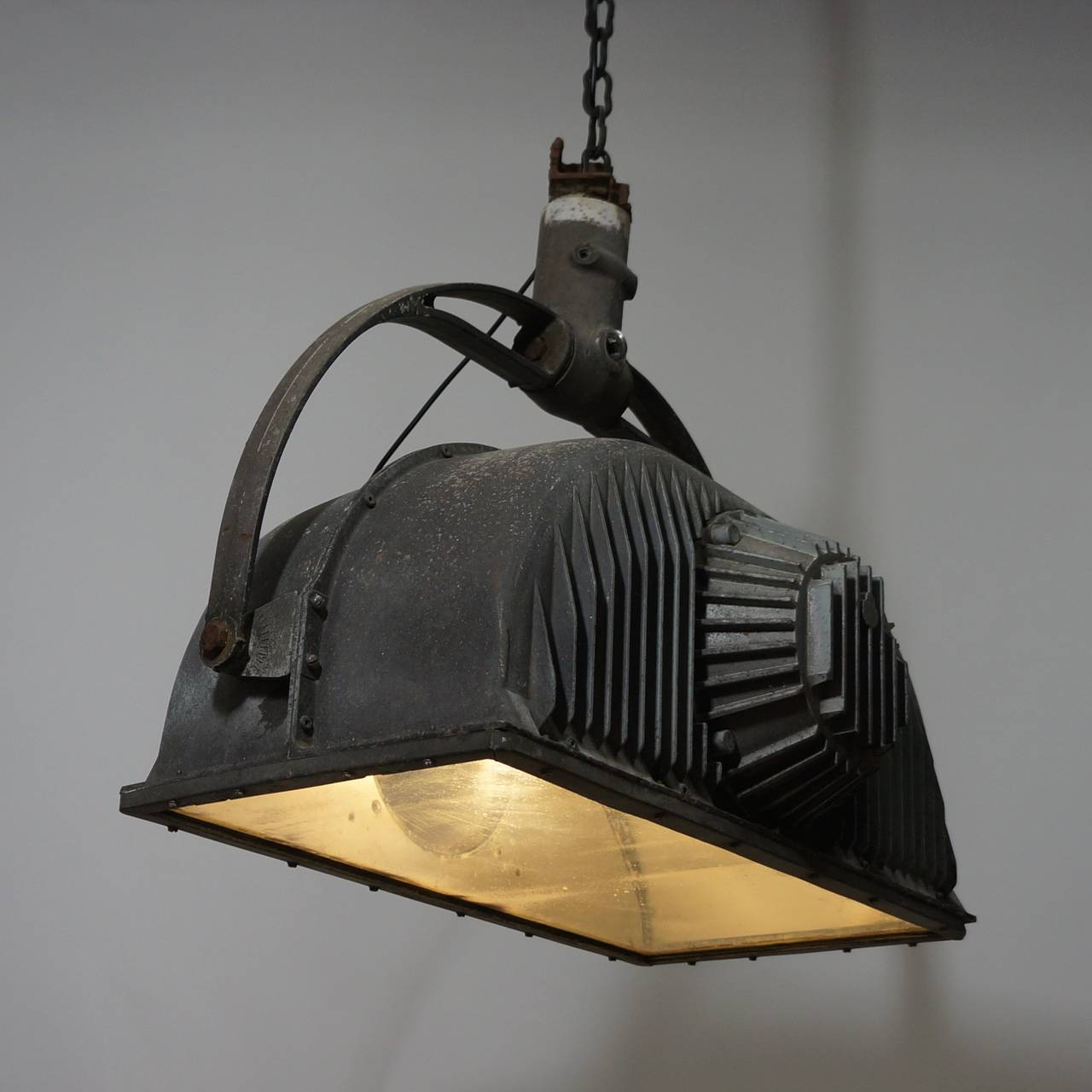 French Large Industrial Ceiling Light Fixture For Sale