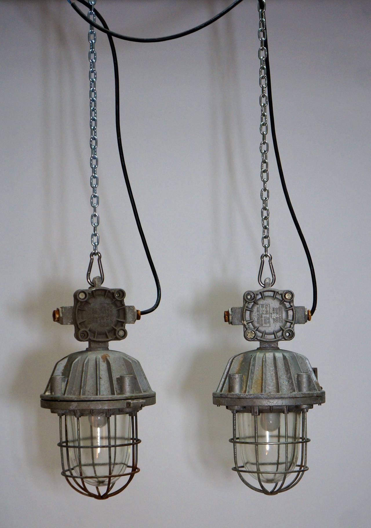 Polish pair of vintage industrial lights for sale