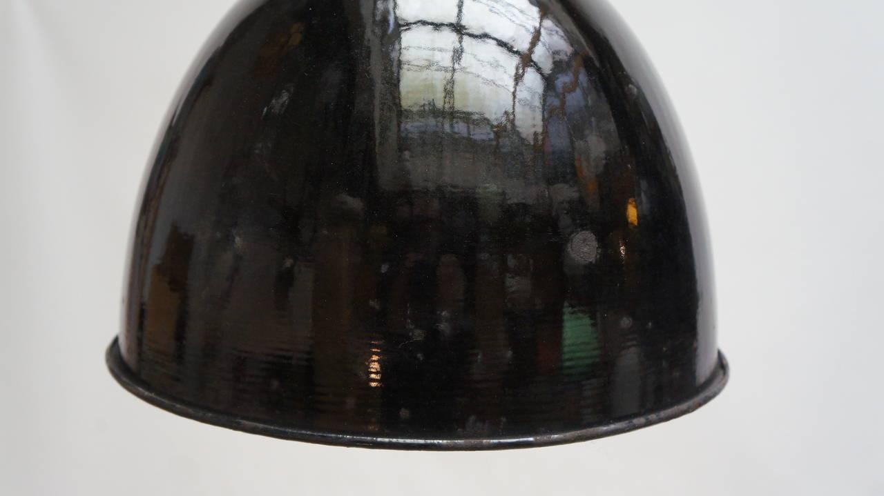 1960 Novelty Lighting : Two Vintage Enamel European Industrial Factory Lights For Sale at 1stdibs
