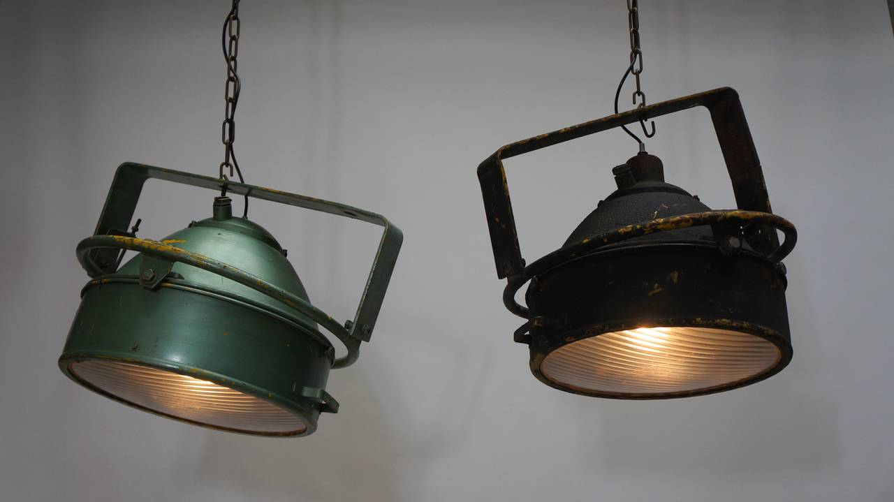 French Pair of Industrial Pendant Lights For Sale