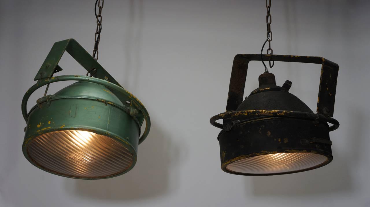 Metal Pair of Industrial Pendant Lights For Sale