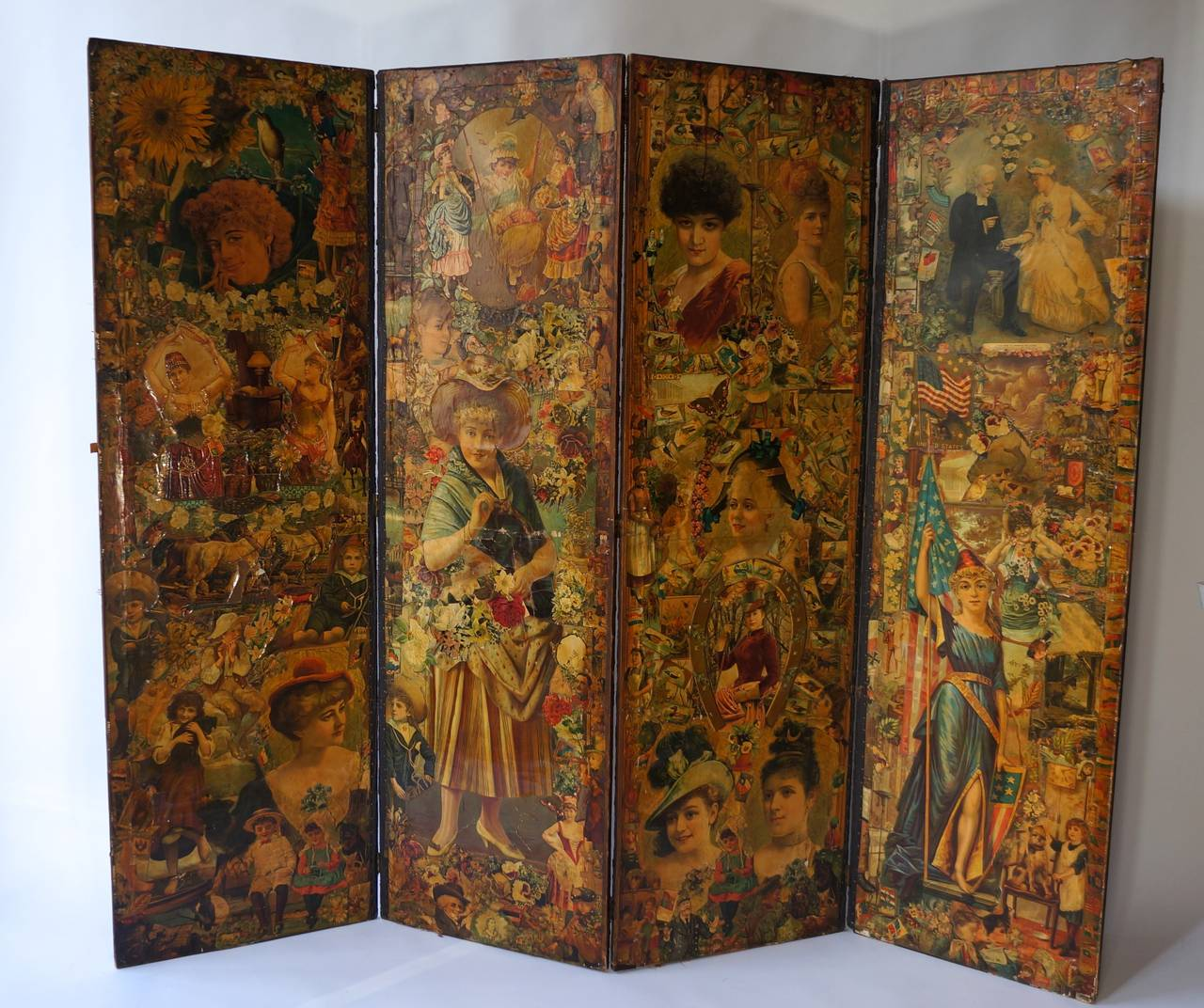 Folding Screen Decoupage Folding Screen Featuring A Collage Of Figures For Sale