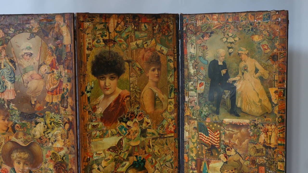 Late 19th Century Decoupage Folding Screen Featuring a Collage of Figures For Sale