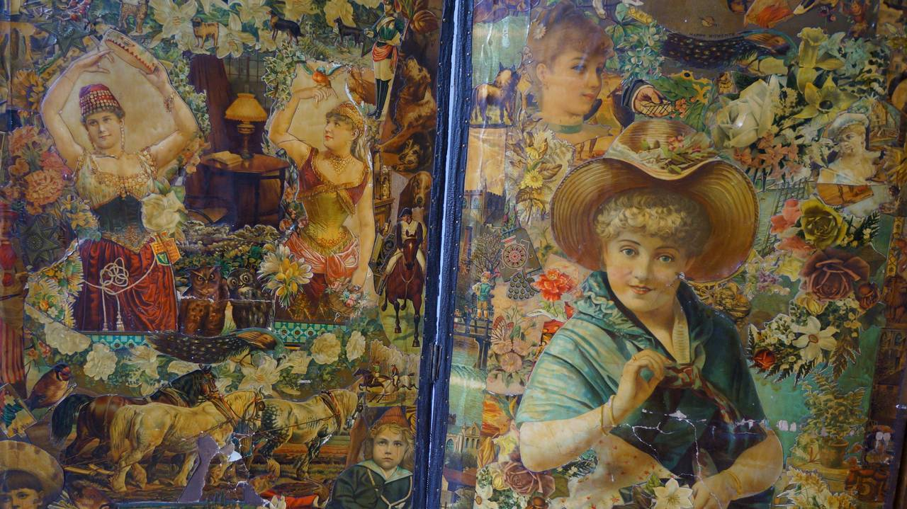 Decoupage Folding Screen Featuring a Collage of Figures For Sale 1