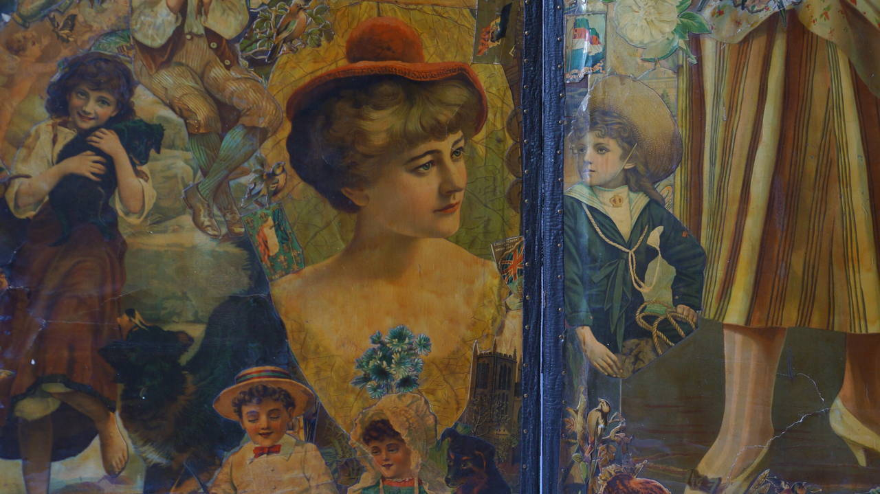 Decoupage Folding Screen Featuring a Collage of Figures For Sale 2
