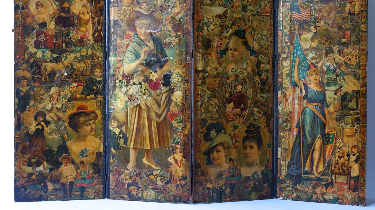 English Decoupage Folding Screen Featuring a Collage of Figures For Sale