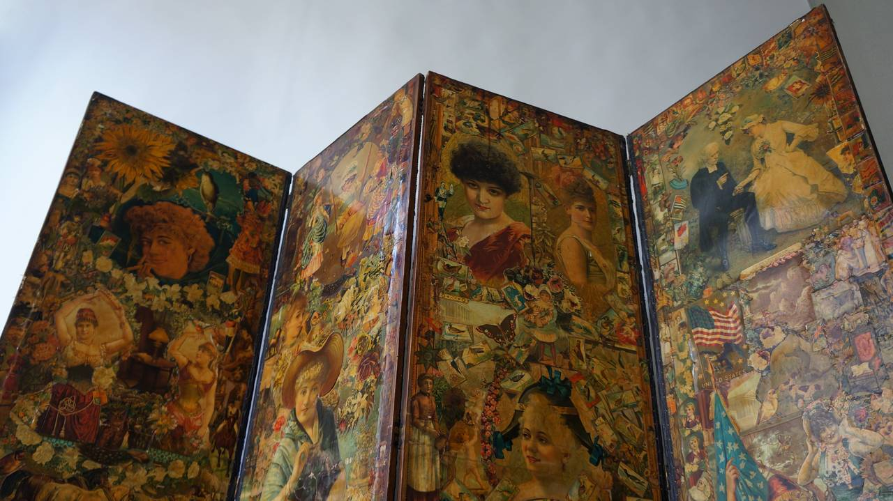 Leather Decoupage Folding Screen Featuring a Collage of Figures For Sale
