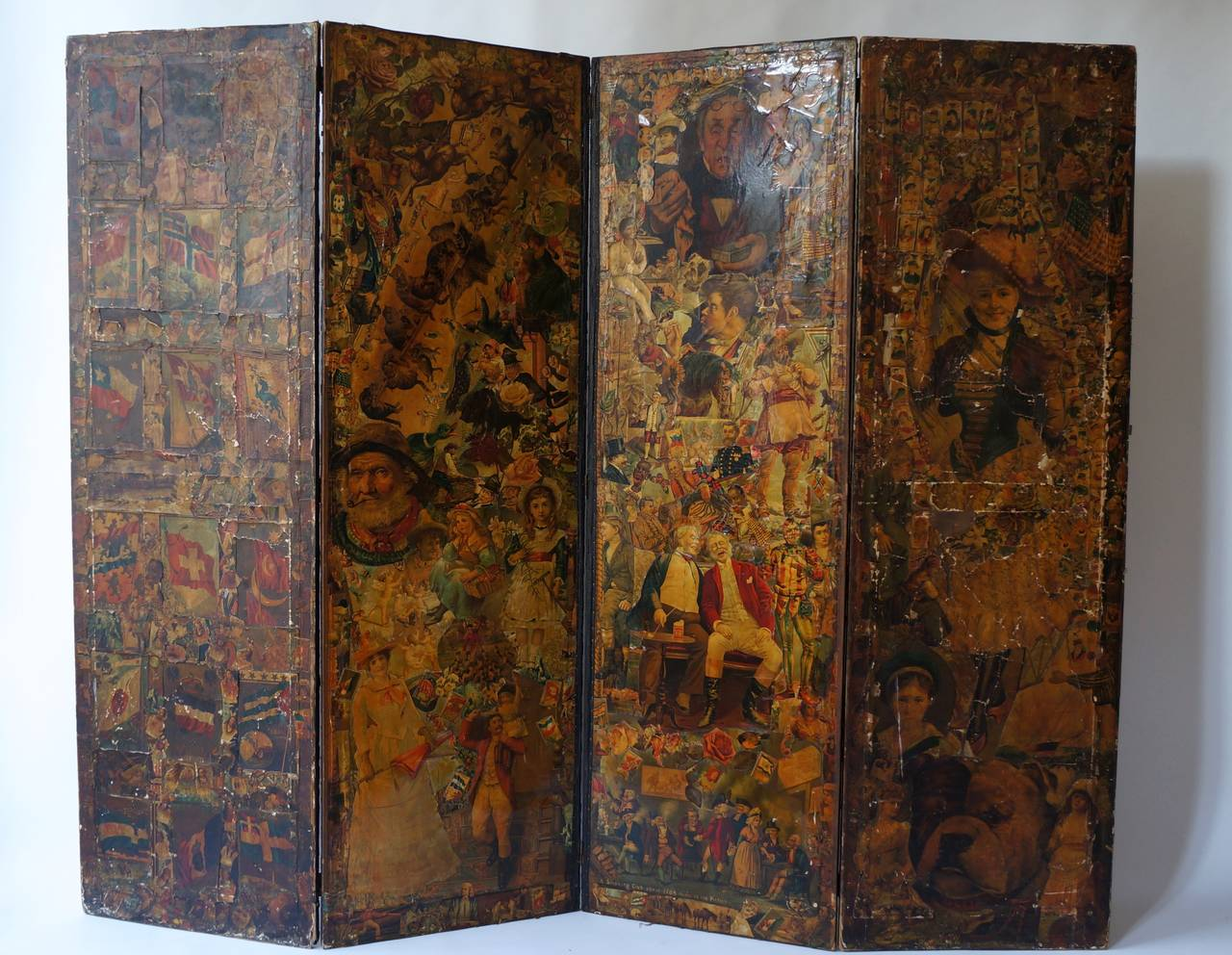 Victorian Decoupage Folding Screen Featuring a Collage of Figures For Sale