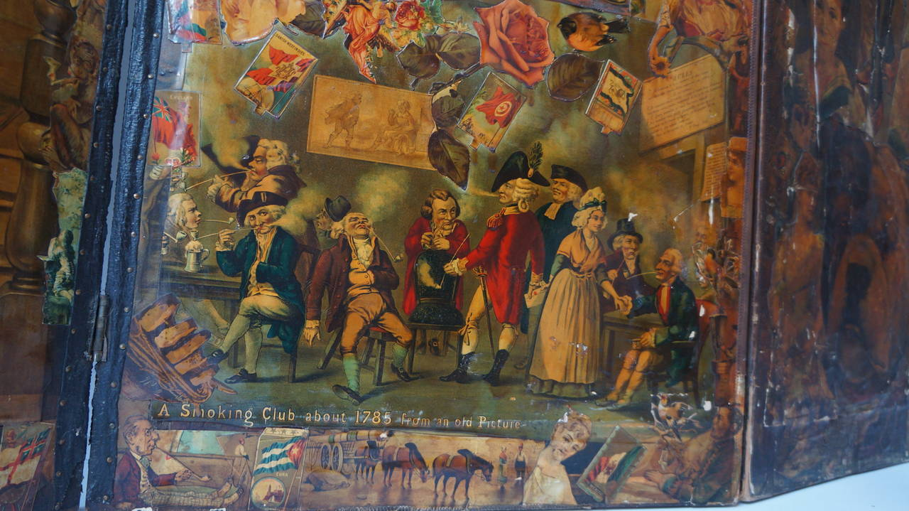 Decoupage Folding Screen Featuring a Collage of Figures For Sale 3