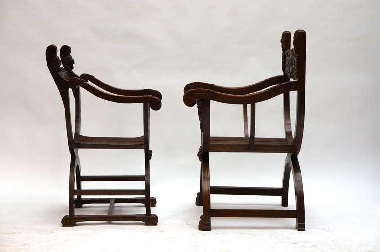 Wood Italian Savonarola Armchairs For Sale