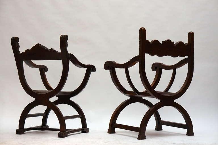 Mid-Century Modern Italian Savonarola Armchairs For Sale