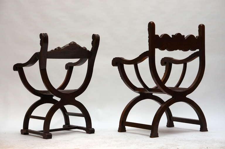 Carved Italian Savonarola Armchairs For Sale