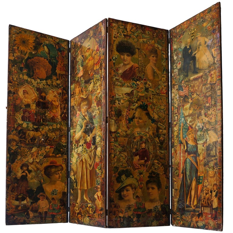 Decoupage Folding Screen Featuring a Collage of Figures For Sale