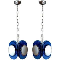 Pair of Bold Blue Glass Murano Lights
