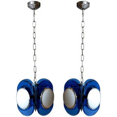 Pair of Bold Blue Glass Murano Lights