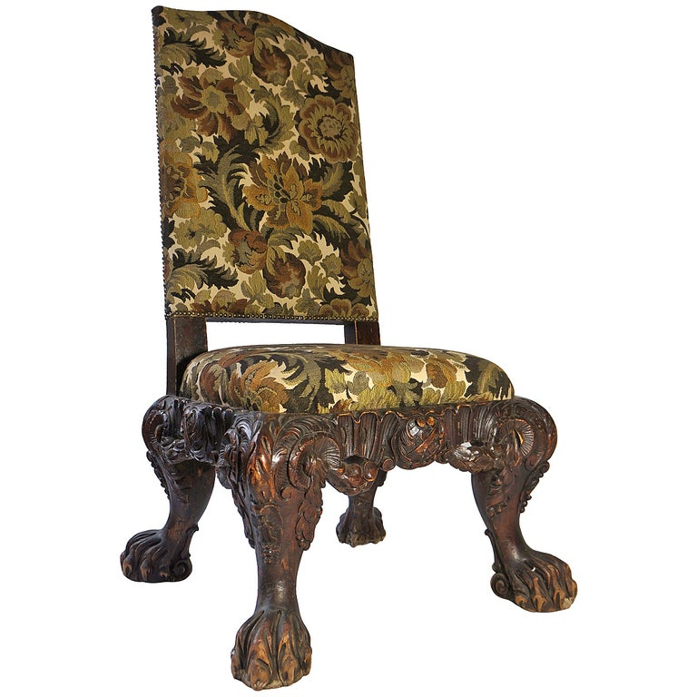 Italian Barok Style Chair, Second Half of the 19th Century For Sale