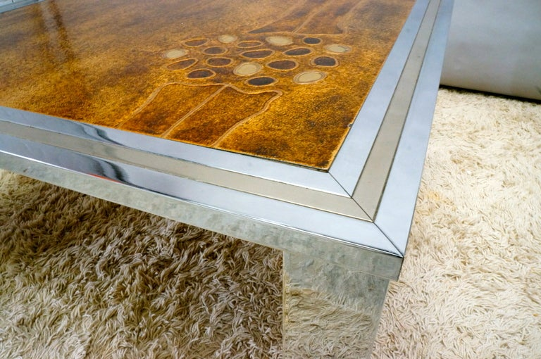 Mid-Century Modern 1960s Signed De Nisco Chrome and Enamel Coffee Table For Sale