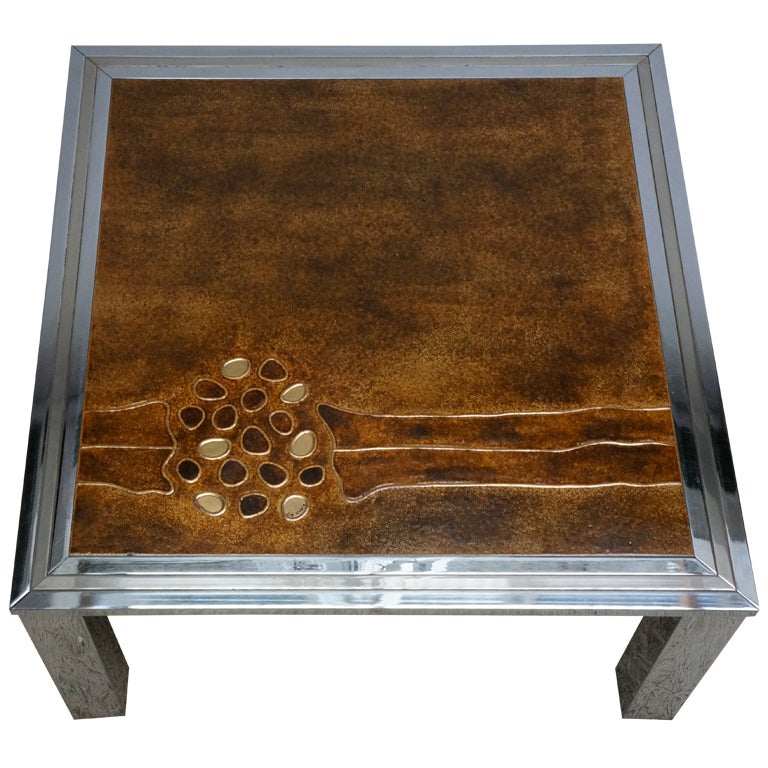 1960s Signed De Nisco Chrome And Enamel Coffee Table For