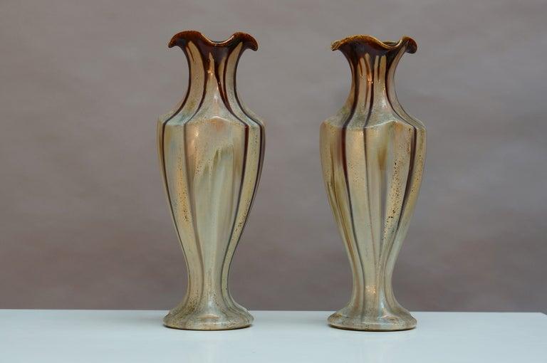 Pair of Belgium handmade pottery vases.