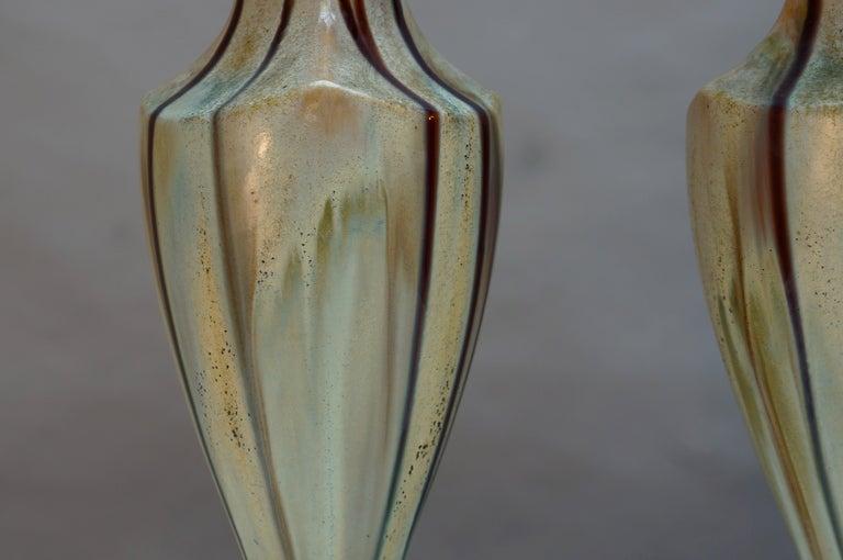 Art Nouveau Pair of Belgium Pottery Vases For Sale