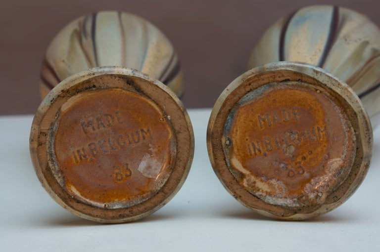 Hand-Crafted Pair of Belgium Pottery Vases For Sale