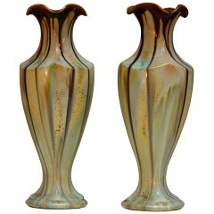 Pair of Belgium Pottery Vases