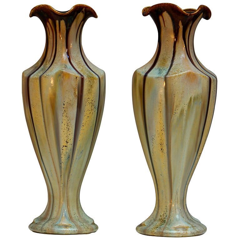Pair of Belgium Pottery Vases For Sale