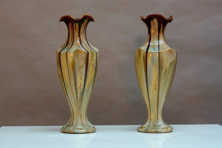 Pair of Belgium Pottery Vases 6