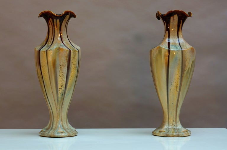 Belgian Pair of Belgium Pottery Vases For Sale
