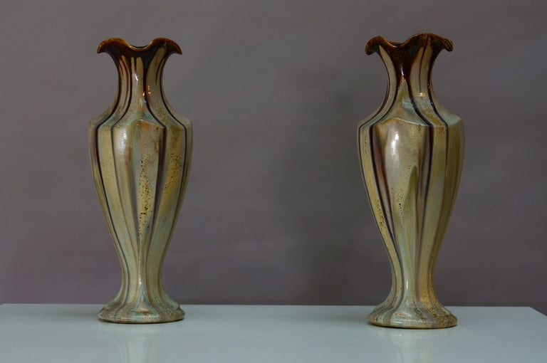 20th Century Pair of Belgium Pottery Vases For Sale