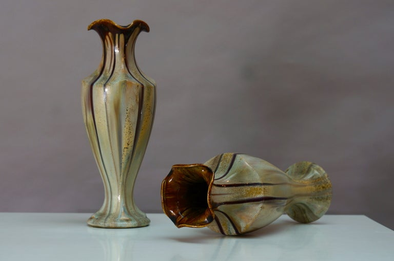 Pair of Belgium Pottery Vases For Sale 1