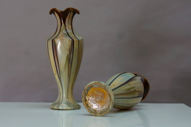 Pair of Belgium Pottery Vases For Sale 2