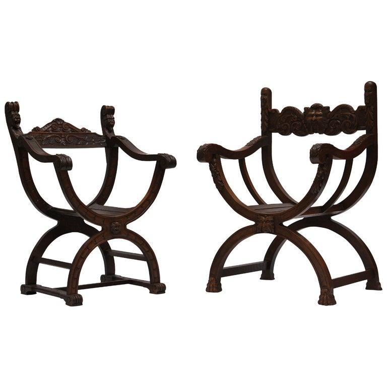 Italian Savonarola Armchairs For Sale