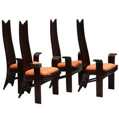 Set of Four Bentwood High Chairs