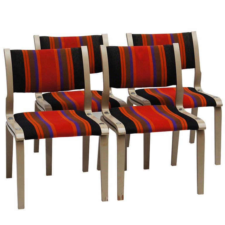 Four Multicolored Seventies Chairs For Sale