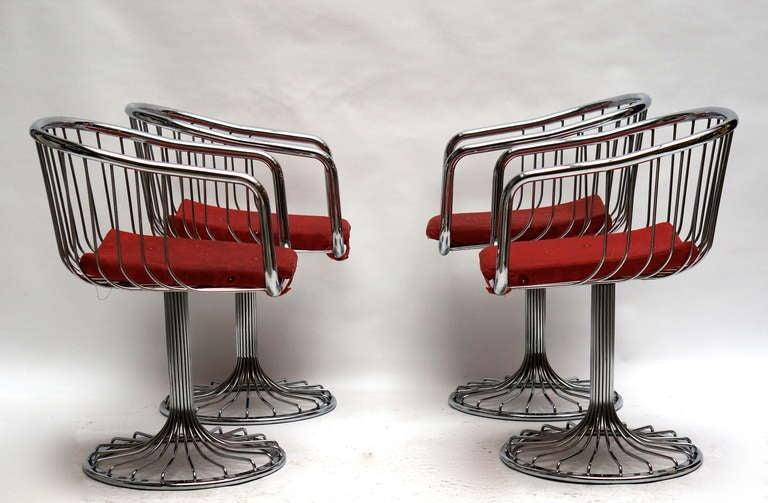 Set of two Warren Platner style dining or lounge chairs.  Two are sold.