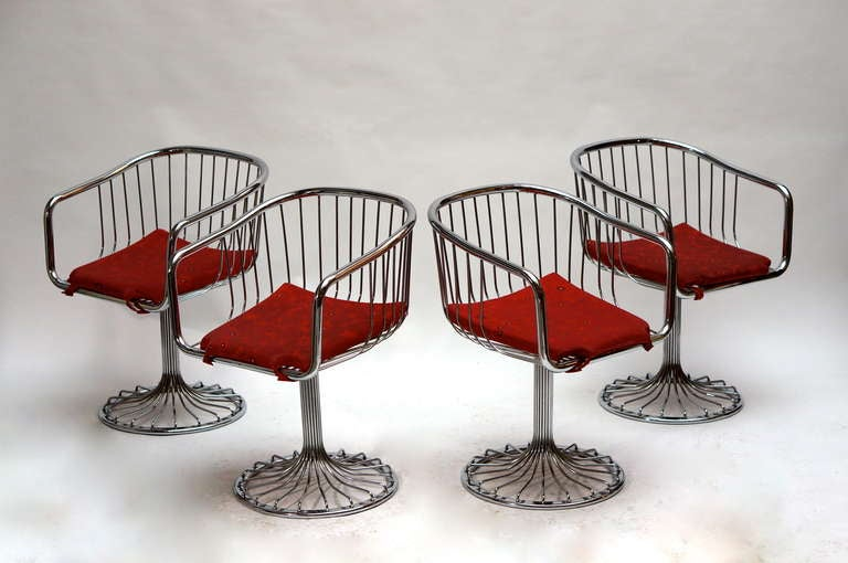 Mid-20th Century Set of Two Dining or Lounge Chairs in the Style of Warren Platner For Sale