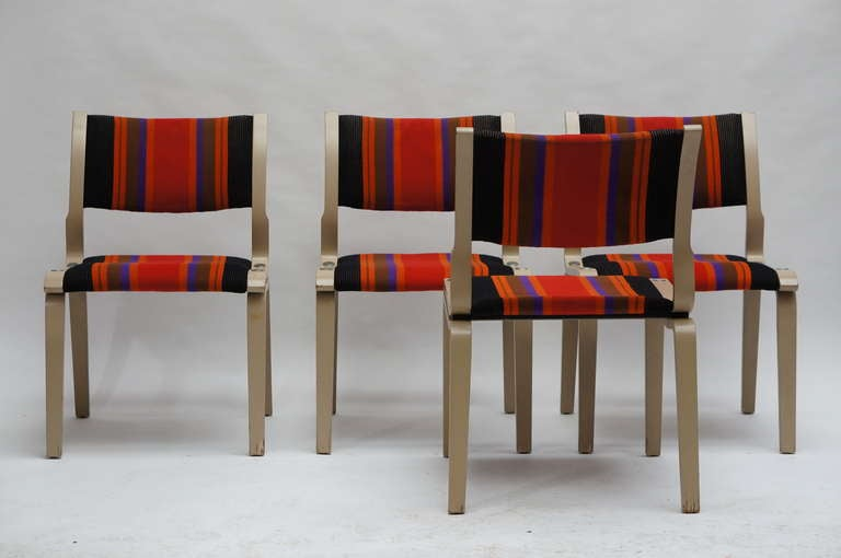Mid-Century Modern Four Multicolored Seventies Chairs For Sale