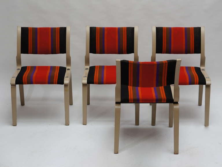 Dutch Four Multicolored Seventies Chairs For Sale