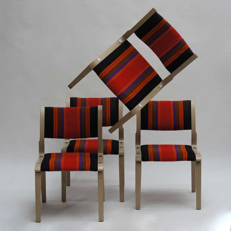 Late 20th Century Four Multicolored Seventies Chairs For Sale