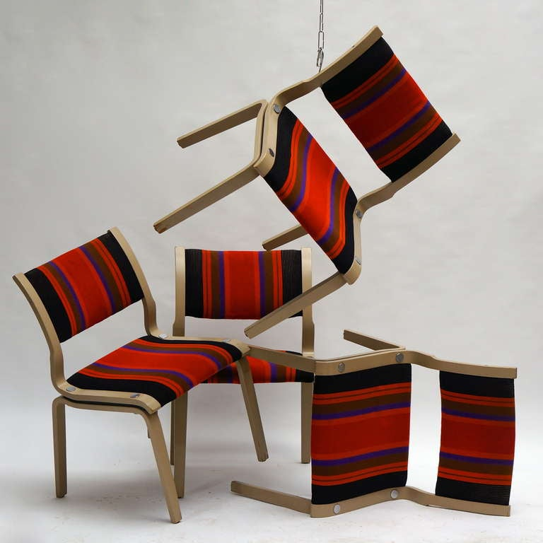 Upholstery Four Multicolored Seventies Chairs For Sale