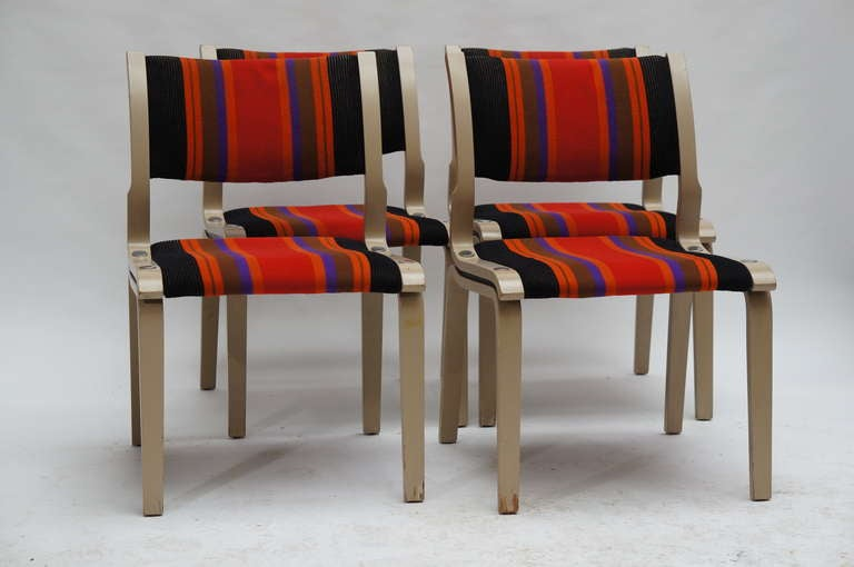 Four Multicolored Seventies Chairs For Sale 3