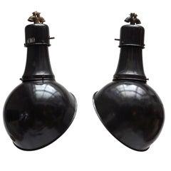 Pair of Black Industrial Hanging Lamps
