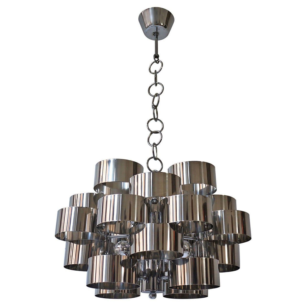 Two Italian Chrome Loop Chandeliers by Sciolari