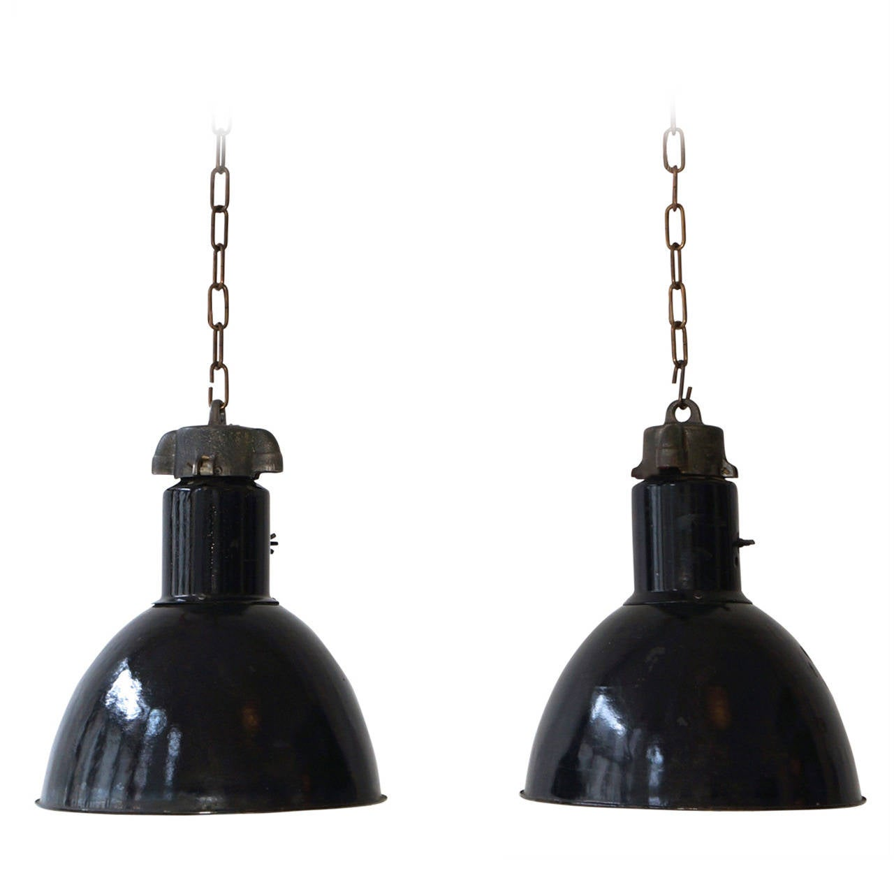 Pair of industrial pendant lights for sale at 1stdibs for Industrial bulb pendant